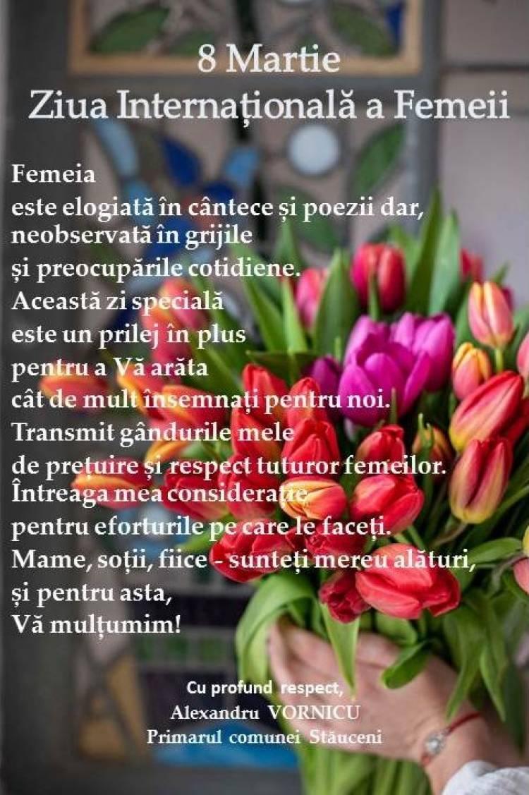 Mesaj de felicitare cu prilejul Zilei Internaționale a Femeii