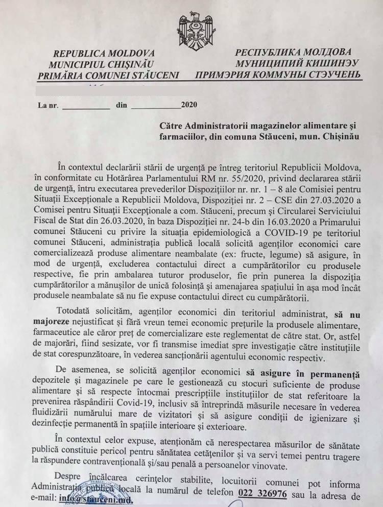 În atenția locuitorilor comunei Stăuceni și agenţilor economici