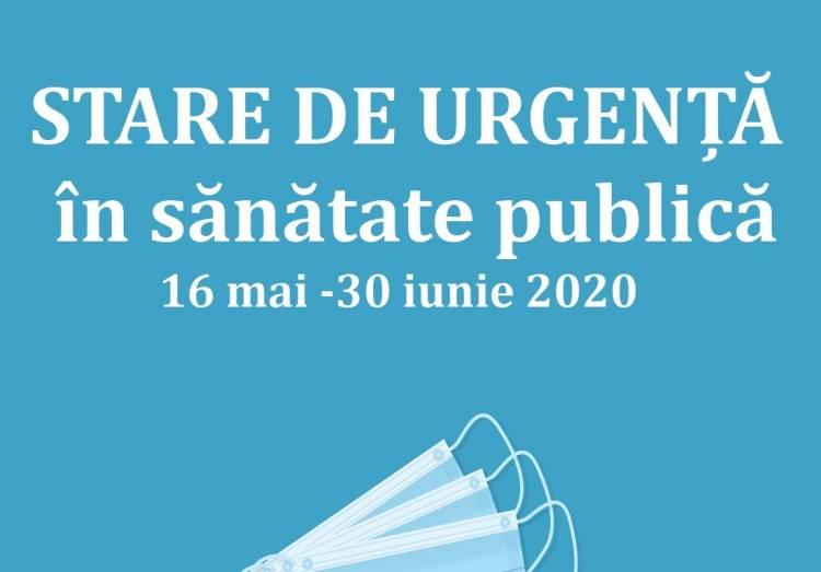 STARE DE URGENȚĂ ÎN SĂNĂTATE PUBLICĂ (16 mai - 30 iunie 2020)