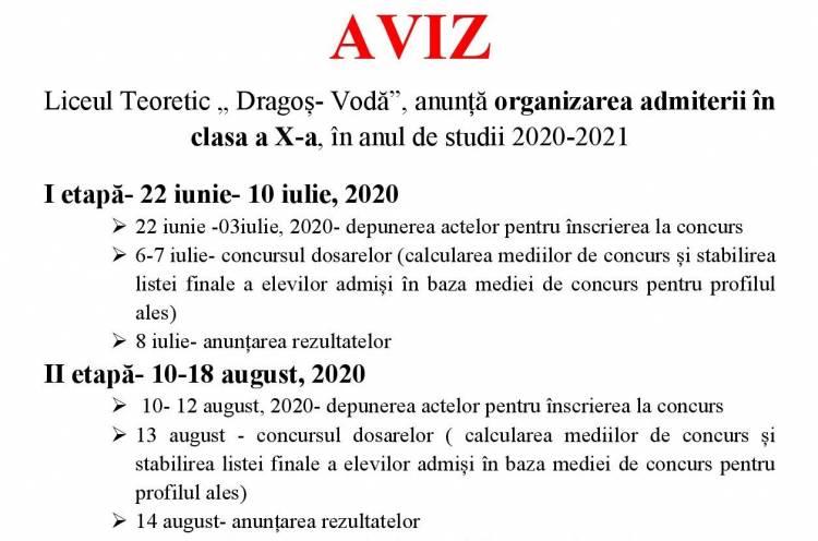 """Organizarea admiterii în clasa a X-a la Liceul Teoretic """" Dragoș- Vodă"""""""