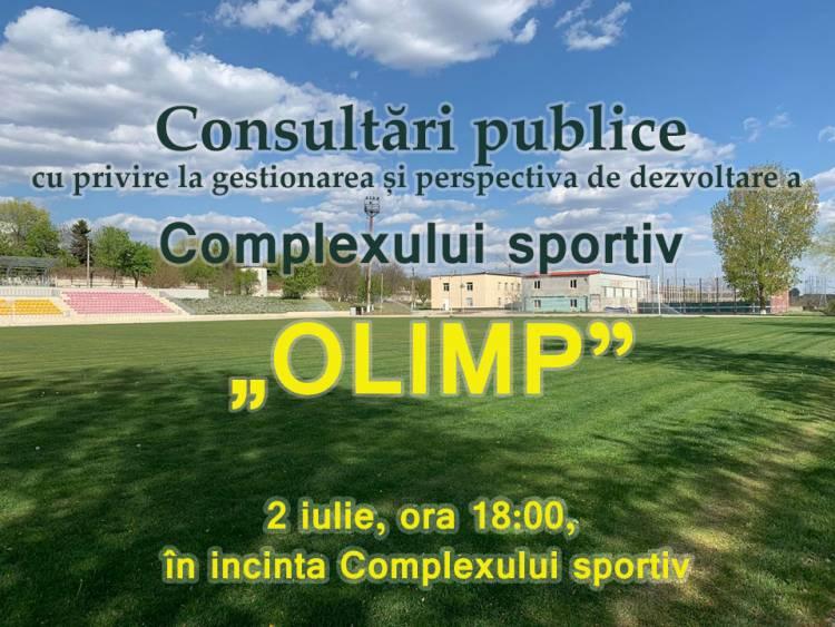 """Consultări publice cu privire la gestionarea și perspectiva de dezvoltare a Complexului sportiv """"Olimp""""."""