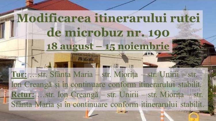 Modificarea itinerarului rutei de microbuz nr. 190