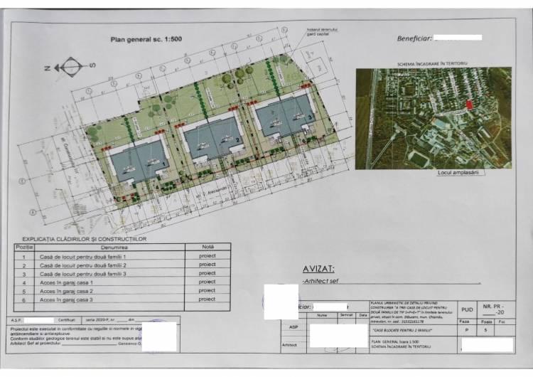 """Consultare publică a PUD-ului privind construirea """"a trei case de locuit pentru două familii de tip S+P+E+T"""""""